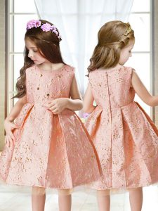 Simple Pink Scoop Zipper Embroidery Little Girls Pageant Gowns Sleeveless