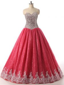 High End Sequined Sleeveless Floor Length Ball Gown Prom Dress and Beading and Appliques