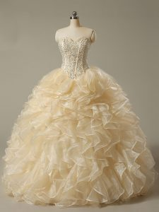 Champagne Sweetheart Neckline Beading and Ruffles Sweet 16 Quinceanera Dress Sleeveless Lace Up