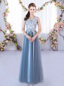 Beauteous Floor Length A-line Sleeveless Blue Court Dresses for Sweet 16 Lace Up