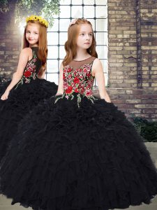 Scoop Sleeveless Child Pageant Dress Floor Length Embroidery and Ruffles Black Organza