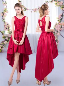 Red Satin Lace Up Scoop Sleeveless High Low Dama Dress Appliques