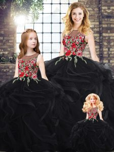 Dynamic Black Sleeveless Embroidery and Ruffles Floor Length Ball Gown Prom Dress