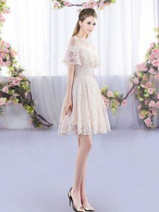 Unique Champagne Lace Up Quinceanera Court of Honor Dress Short Sleeves Mini Length Lace