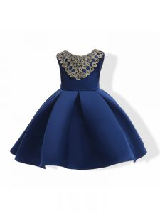 Excellent Mini Length Navy Blue Child Pageant Dress Satin Sleeveless Appliques and Bowknot
