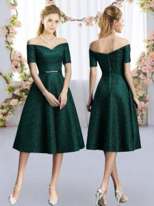 Custom Made Tea Length A-line Short Sleeves Dark Green Court Dresses for Sweet 16
