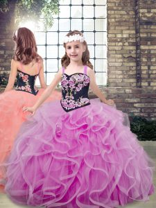 Lilac Lace Up Straps Embroidery and Ruffles Little Girls Pageant Dress Wholesale Tulle Sleeveless