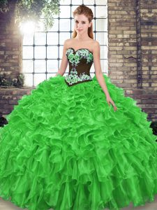 Edgy Sweep Train Ball Gowns Sweet 16 Dress Sweetheart Organza Sleeveless Lace Up