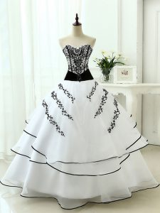 White Sleeveless Organza Lace Up Sweet 16 Quinceanera Dress for Military Ball and Sweet 16 and Quinceanera