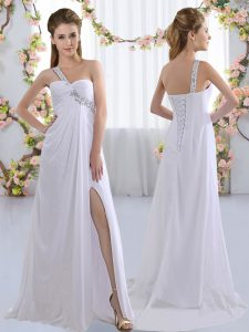 Classical White Empire Chiffon One Shoulder Sleeveless Beading Lace Up Court Dresses for Sweet 16 Brush Train