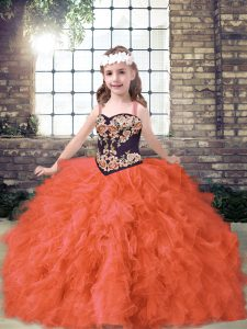Amazing Ball Gowns Pageant Gowns For Girls Orange Red Straps Tulle Sleeveless Floor Length Lace Up