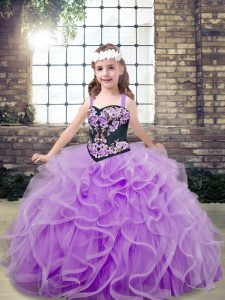 Adorable Lavender Lace Up Little Girl Pageant Dress Embroidery and Ruffles Sleeveless Floor Length
