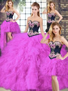 High Quality Tulle Sweetheart Sleeveless Lace Up Beading and Embroidery Quince Ball Gowns in Fuchsia