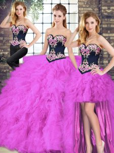 Traditional Floor Length Fuchsia 15 Quinceanera Dress Tulle Sleeveless Beading and Embroidery