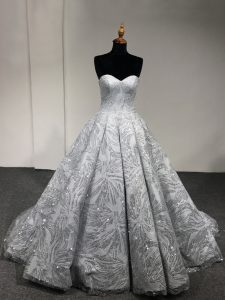 Wonderful Sweetheart Sleeveless Vestidos de Quinceanera Floor Length Sequins Silver