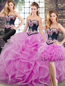 Amazing Lilac Sleeveless Beading and Embroidery and Ruffles Lace Up 15th Birthday Dress