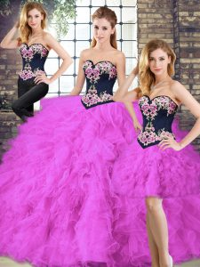 Custom Design Sleeveless Beading and Embroidery Lace Up Quinceanera Gown