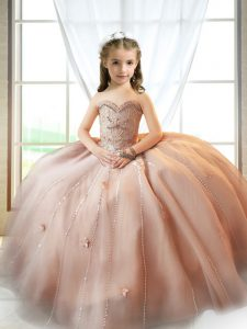Tulle Sleeveless Floor Length Kids Formal Wear and Beading and Appliques