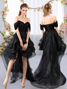 Simple Off The Shoulder Short Sleeves Quinceanera Court of Honor Dress High Low Lace and Ruffled Layers Black Tulle