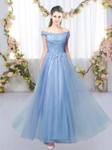 Admirable Blue Lace Up Off The Shoulder Lace Dama Dress Tulle Sleeveless