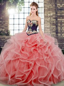 Sleeveless Sweep Train Lace Up Embroidery and Ruffles Sweet 16 Quinceanera Dress