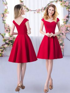 Most Popular Red Straps Zipper Ruching Court Dresses for Sweet 16 Cap Sleeves