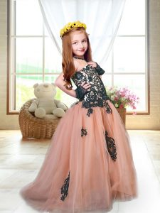 Superior Peach Spaghetti Straps Neckline Appliques Kids Formal Wear Sleeveless Lace Up