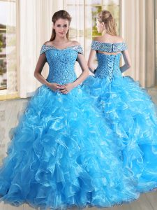 New Style Off The Shoulder Sleeveless Organza 15 Quinceanera Dress Beading and Lace and Ruffles Sweep Train Lace Up