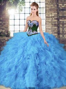 Sleeveless Tulle Floor Length Lace Up Quinceanera Dress in Baby Blue with Beading and Embroidery