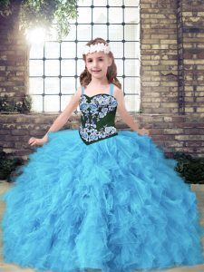 Embroidery and Ruffles Kids Pageant Dress Baby Blue Lace Up Sleeveless Floor Length