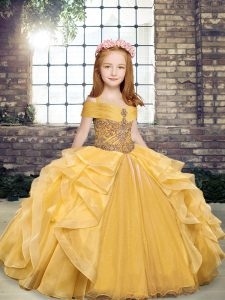 High Quality Beading and Ruffles Little Girls Pageant Dress Gold Lace Up Sleeveless Floor Length