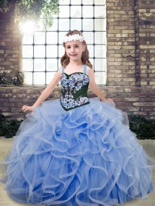 Straps Sleeveless Tulle Little Girls Pageant Dress Embroidery and Ruffles Lace Up