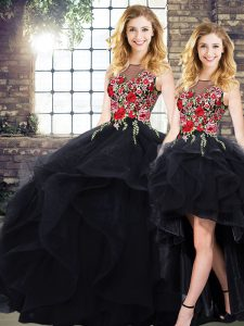 Modern Sleeveless Tulle Floor Length Lace Up Sweet 16 Quinceanera Dress in Black with Beading and Embroidery