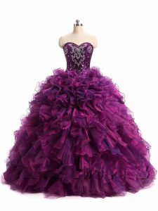 Purple Sweetheart Neckline Beading and Ruffles Quinceanera Gown Sleeveless Lace Up