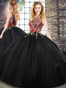 Black Zipper Scoop Sleeveless Floor Length Quince Ball Gowns Embroidery
