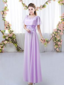 Free and Easy Appliques Court Dresses for Sweet 16 Lavender Zipper Short Sleeves Floor Length