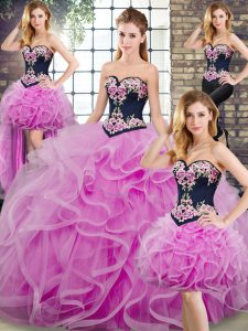 Lilac Sleeveless Sweep Train Embroidery and Ruffles Quince Ball Gowns