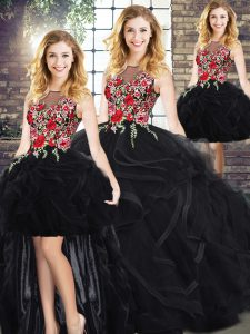 Graceful Scoop Sleeveless Sweet 16 Quinceanera Dress Floor Length Embroidery and Ruffles Black
