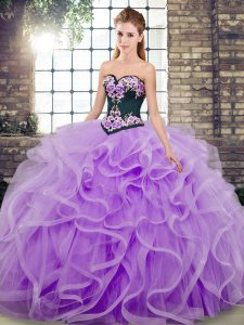 Edgy Sleeveless Sweep Train Lace Up Embroidery and Ruffles Sweet 16 Quinceanera Dress