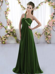 Olive Green Dama Dress for Quinceanera One Shoulder Sleeveless Brush Train Lace Up