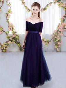 Designer Purple Short Sleeves Ruching Floor Length Vestidos de Damas