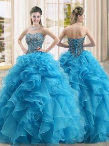 Eye-catching Baby Blue Lace Up Sweetheart Beading and Ruffles Quinceanera Gown Organza Sleeveless