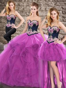 Fashionable Sleeveless Tulle Floor Length Lace Up Quince Ball Gowns in Purple with Beading and Embroidery