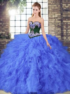 Discount Tulle Sweetheart Sleeveless Lace Up Beading and Embroidery Quinceanera Dress in Blue