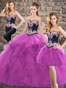 Beading and Embroidery Sweet 16 Quinceanera Dress Purple Lace Up Sleeveless Floor Length