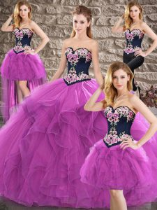Delicate Purple Tulle Lace Up Ball Gown Prom Dress Sleeveless Floor Length Beading and Embroidery
