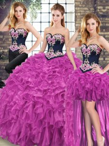 Custom Design Sleeveless Sweep Train Lace Up Embroidery and Ruffles Vestidos de Quinceanera