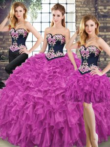 Elegant Sweetheart Sleeveless Organza Quinceanera Dress Embroidery and Ruffles Lace Up