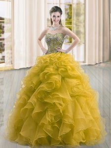 Flirting Gold Ball Gowns Organza Sweetheart Sleeveless Beading and Ruffles Floor Length Lace Up Quinceanera Gown