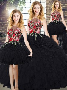 Sleeveless Organza Zipper Vestidos de Quinceanera in Black with Embroidery and Ruffles